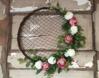 Floral wreath~ chickenwire wreath~ silk flowers~ greenery