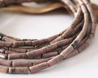 Strand Rhodonite Tube Shape Gemstone Beads Pink Purple Black Size 13x4.5mm