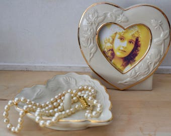 Vintage Ivory ceramic heart shaped photo frame and matching ring dish