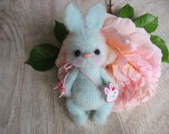 Crocheted  miniature furry bunny Yuna, crochet toys