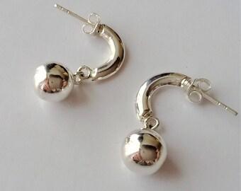 Solid Sterling Silver Stud Earrings, Silver Dangle Earrings, Open Hoop Earrings, Ball Earrings, Boho Earring, Minimalist Modern Earrings.