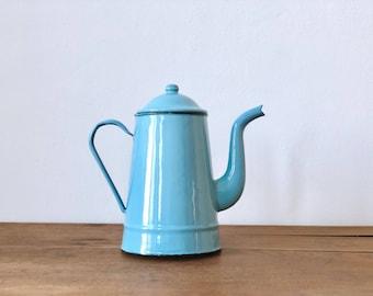 Vintage Enamelled Blue Teapot