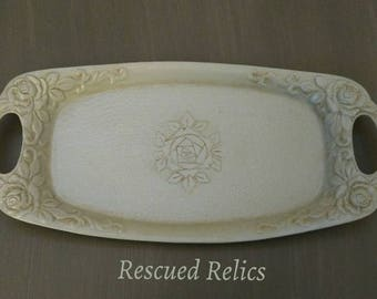 Silver Trinket Tray painted in Annie Sloan Chalk Paint, Duck Egg Blue