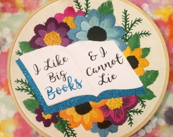 CUSTOM Book Glittery Floral Hand Embroidered Quote Hoop Art