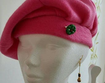 Pink beret adorned d wax d bee brooch