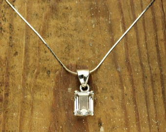Herkimer Diamond Necklace, Faceted Herkimer Diamond Emerald Cut, Sterling Silver Pendant, 4 Carats with Chain