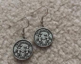 "Silver charm earrings ""gemini"""