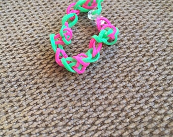 Pink and Green Band Bracelet