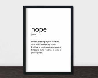 Hope Definition Print, Hope Word Art, Wall Words, Definition Wall Art, Hope Art Prints, Dictionary Definition, Minimalist Print, Printable
