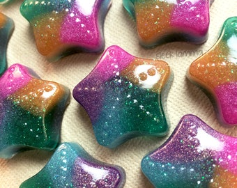 Rainbow Unicorn Sparkle Star Magnets - Set of 5