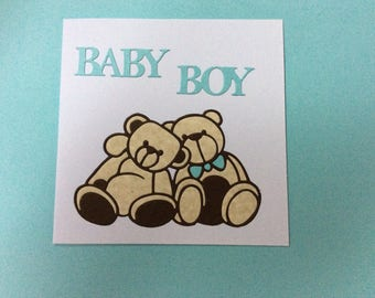 Cuddly teddy bear new baby card
