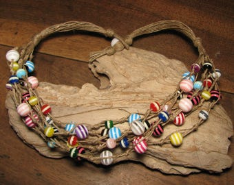 """Necklace """"Kindergarten"""" linen and multicolored striped synthetic pearls"""