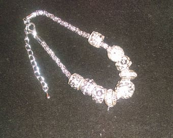 No. 30031 Silver with designs & Rhinestones Large Beaded Bracelet