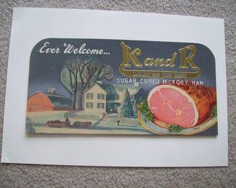 K and R Sugar Cured Hickory Ham Advertisement Sign 1949 Vintage