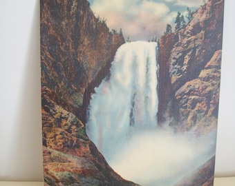 Lower Falls From Below Yellowstone National Park Giant Post Card 7 x 9 Vintage