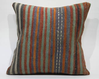 20x20 Kilim Pillow 20x20 Kilim Pillow,Decorative Pillow,Vintage Kilim Pillow,Throw Pillows,Bohemian Pillows Striped Pillow 1222