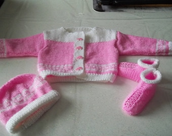 Cardigan, booties and hat-knit handmade baby 0/3 months-