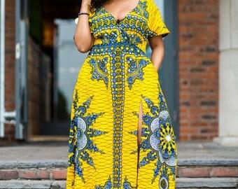 Long ankara dress, print dress, gathered dress, african print dress