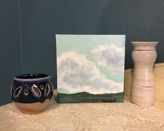"Original Handpainted Landscape Painting on Mini 6""x6"" x1.5"" Wrapped Canvas"