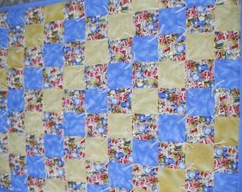 New Handmade Tied Flannel Teddy Bear Baby Quilt Blanket
