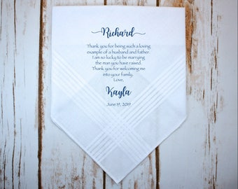 Father of the Groom handkerchief from the Bride, wedding handkerchief from daughter in law, print,Father of the groom gift from bride - FOG1