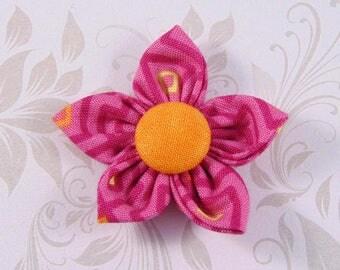 neon yellow fabric flower and orange 4.5 cm handmade ref8
