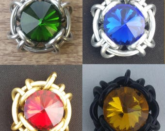 Harry Potter House Colors Conjure Pendant     Crystal Metal Aluminum Anodized Medieval Steampunk Gryffindor Hufflepuff Ravenclaw Slytherin