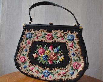 Black floral needlepoint purse / 1960s purse / 60s handbag