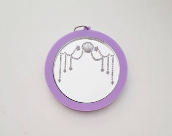 Kawaii Mirror Pendant, pink, purple, engraving, mirror, shell, laser cut, pendant, acrylic, made in Australia, jewellery