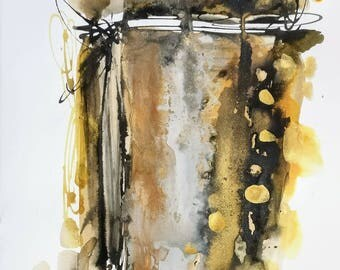 Original watercolor on cotton with colors Brown, black and gold paper. Original painting.