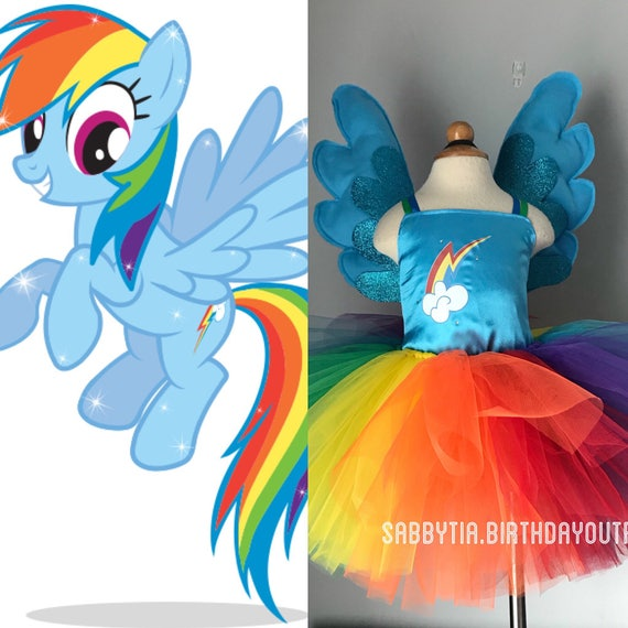 Rainbow Dash Inspired Tutu Dress - My Little Pony Costume - Rainbow ...