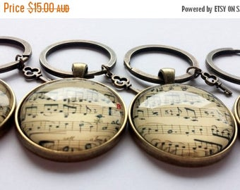 ON SALE Vintage Music sheet Keyring - With Key Charm