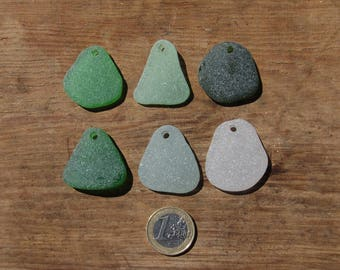 Genuine Top Drilled Sea Glass for Pendants, Set of 6, Genuine Top drilled seaglass, 6 Bulk Drilled JQ Sea Glass, Jewelry supplies