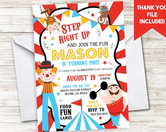 Circus Invite Invitation Birthday First 1st Carnival Stripes Kids Boys Digital 5x7 Personalized