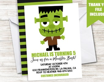 Halloween Kids Birthday Invitation Invite 5x7 Digital Frankenstein Monster Bash ANY AGE