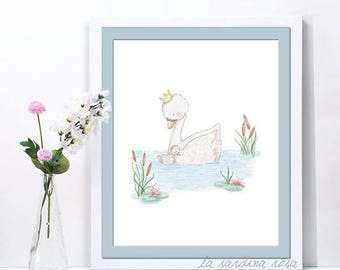 Girl nursery decor, pink nursery wall art, swan prints, woodland nursery art, baby girl birth gift