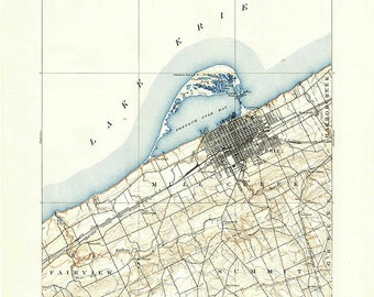 1899 Map of Erie PA and Lake Erie