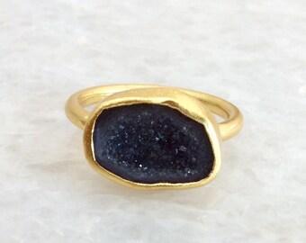 Nina Nguyen Black Crystal Geode Ring