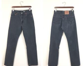 90's levi's 505 straight slim black denim pants jeans made in usa size w30