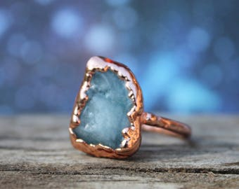 Aquamarine Gemstone Ring   March Birthstone Jewelry Birthday Gift for Her Electroformed Rose Gold Toned Copper Pale Blue Stone Ring