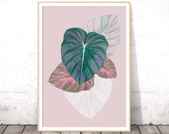 Leaf Printable, Tropical Wall Art, Tropical Decor, Botanical Print, Leaf Print, Green Leaf Decor, Leaf Photo, Tropical Photo, Pastel Prints