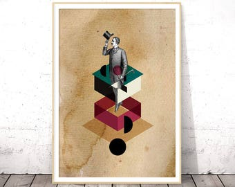 Instant Download Printable Art, Vintage Printable Poster, Collage Art, Geometric Art, Poster Download, Digital Download Art, Wall Art Prints