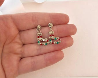 Christmas Boot Earrings - Christmas Stocking Earrings - Christmas Earrings - Holiday Earrings - Festive Jewelry - Red and Green - Jewelry