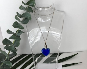 Blue Heart Necklace - Blue Heart Pendant Necklace - Vintage Necklace - 90s Necklace - 1990s Necklace - Chain Necklace - 90s Necklaces - Gift