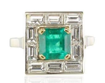 Sticks Art deco 18K White Gold Emerald diamond ring