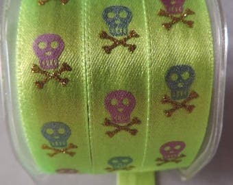 Glossy satin ribbon Skull 16 mm Yellow-green neon / 1 m