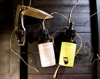 Dual Collection - Bare Naked & Wild Lime Beard Oil 1oz each - Beard Moisturizer, Beard Conditioner, Beard Care