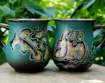 Gift ideas for sister gift Green ceramic mug set of 2 Earthenware Coffee mugs Owl Blue Tea cups Mother daughter gift for wife mug pottery