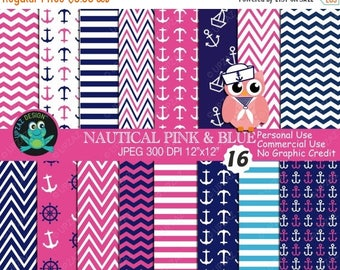 75% OFF SALE Nautical Digital Paper, Commercial Use, Nautical Papers,  Scrapbook Papers, Background - UZ615