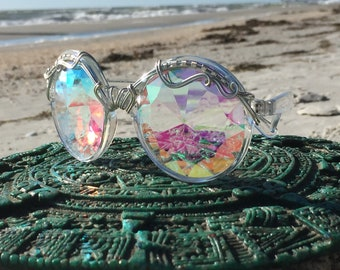 SILVeR Wire Wrapped <> DiFFRaCTioN <> SPUNGLASSES <> Unisex Kaleidoscope Fractal Sunglasses Eyeglasses <> Every Pair is a piece of art